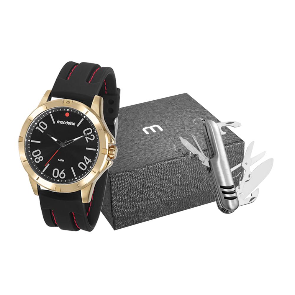Kit Relógio Silicone Preto com Canivete Multiuso