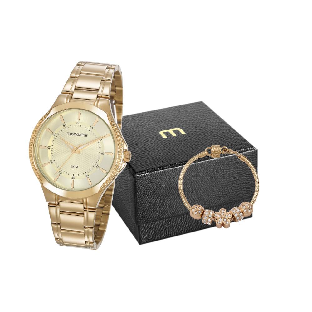 Kit Relógio Casual Cristais Dourado com Pulseira