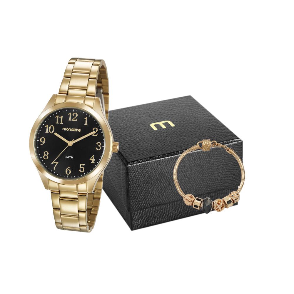 Kit Relógio Dourado com Pulseira com Berloques