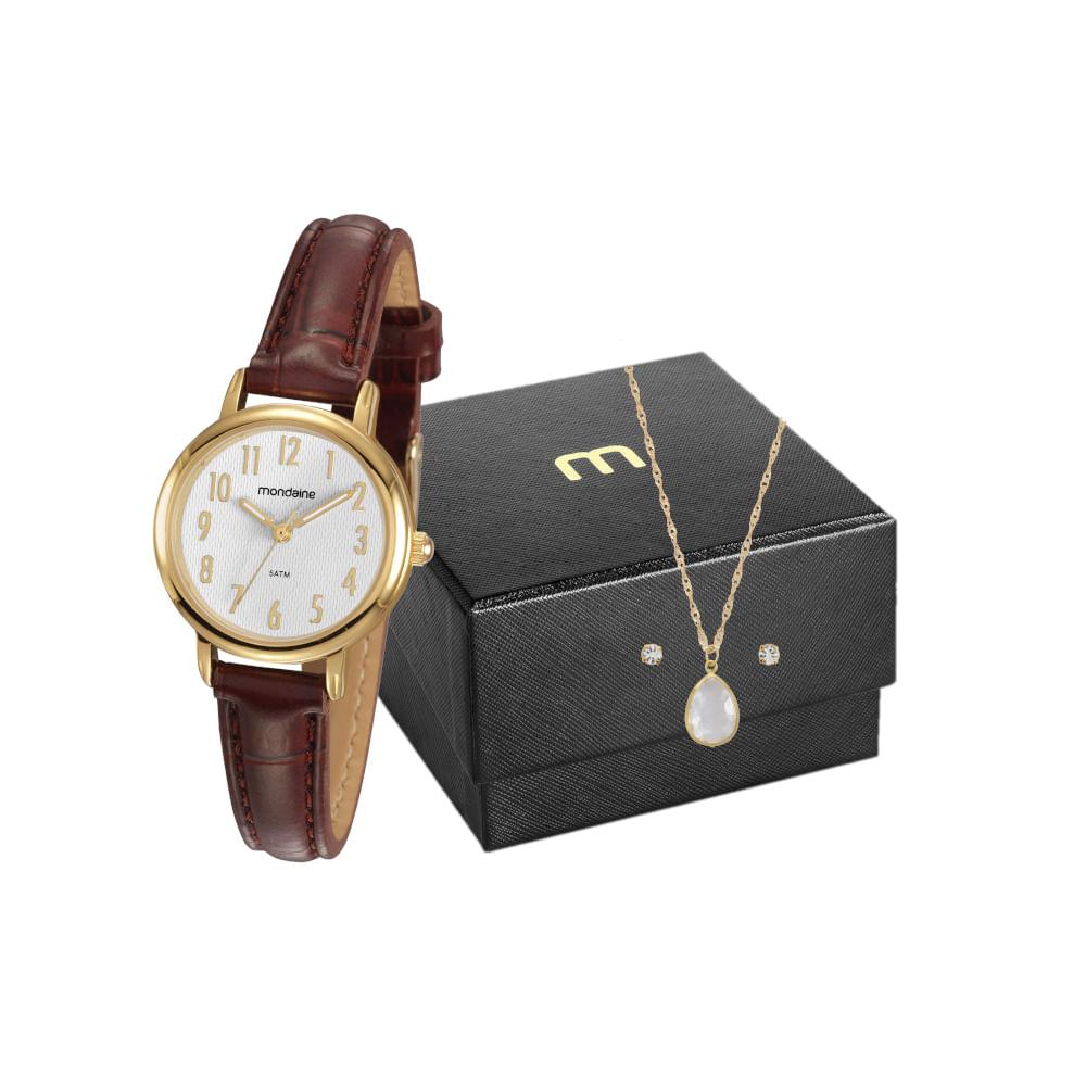 Kit Relógio Vintage Marrom com Semi Joias