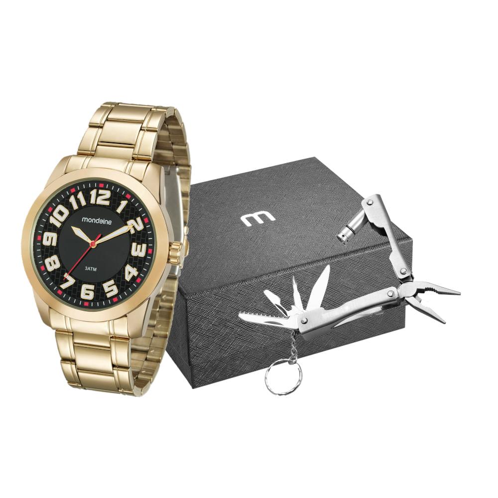 Kit Relógio Dourado com Chaveiro Multiuso