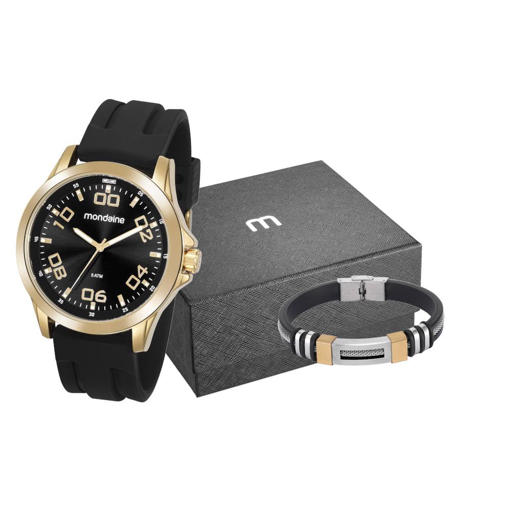 Kit Relógio Silicone Preto com Pulseira