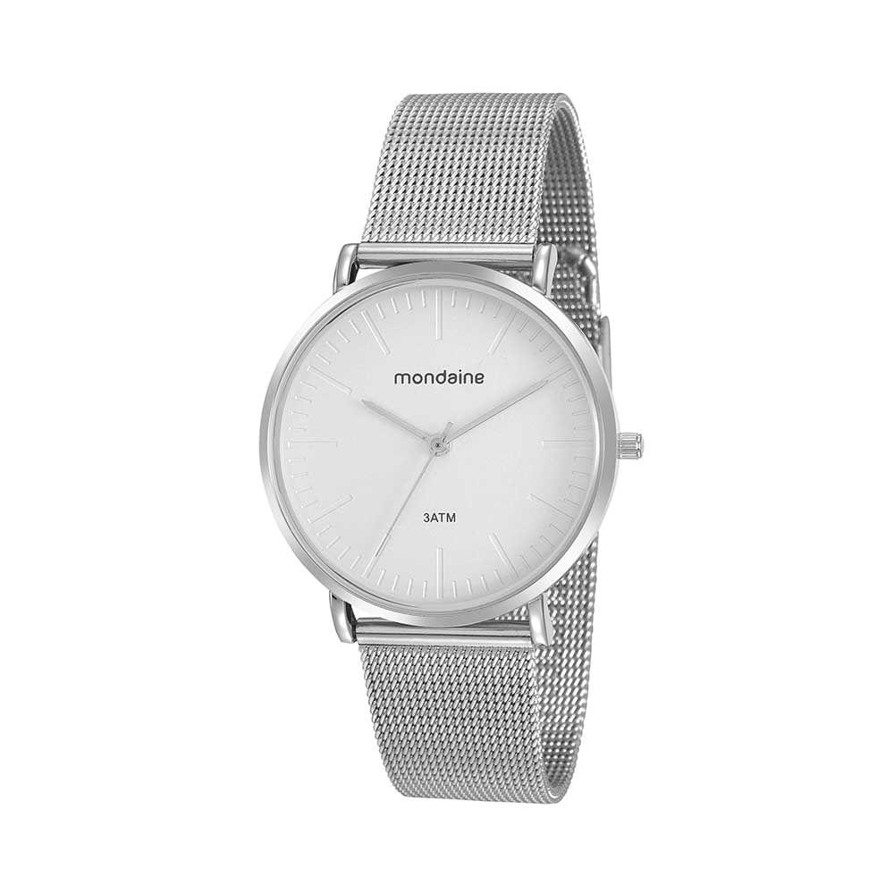 Relógio Minimalista Malha de Aço Prata