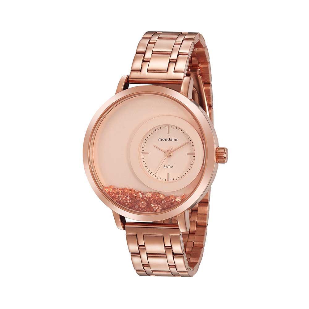 Relógio Minimalista Cristais Soltos Rosé