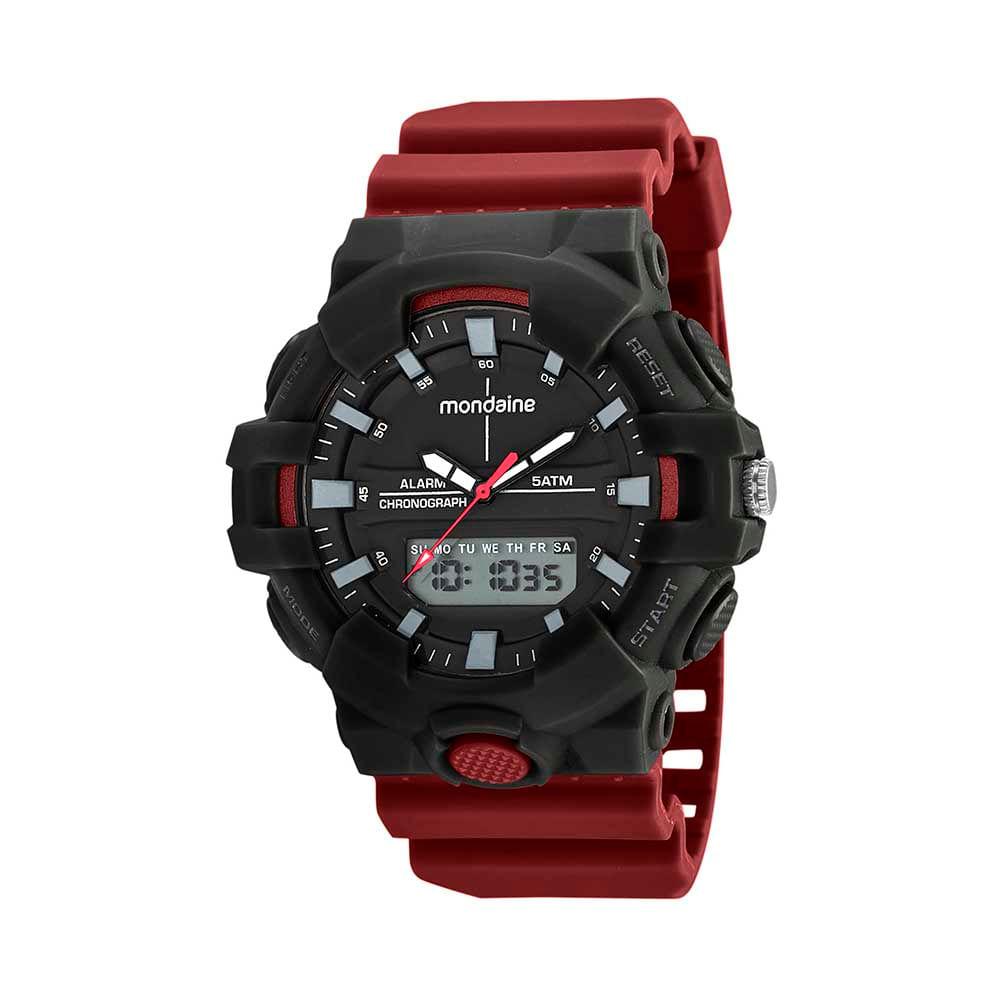 Relógio Anadigi Esportivo Vermelho